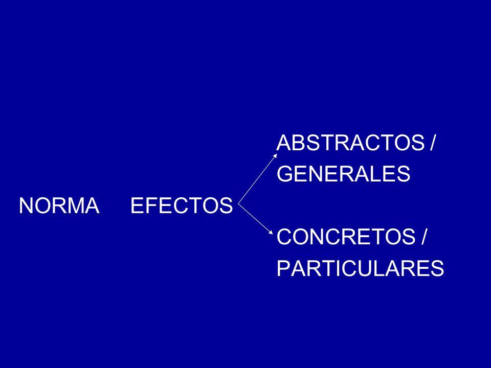 ABSTRACTOS / GENERALES NORMA EFECTOS CONCRETOS / PARTICULARES