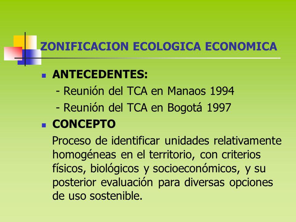 ZONIFICACION ECOLOGICA ECONOMICA ANTECEDENTES: - Reunión del TCA en Manaos 1994 - Reunión del TCA en Bogotá 1997 CONCEPTO Proceso de identificar unidades relativamente homogéneas en el territorio, con criterios físicos, biológicos y socioeconómicos, y su posterior evaluación para diversas opciones de uso sostenible.