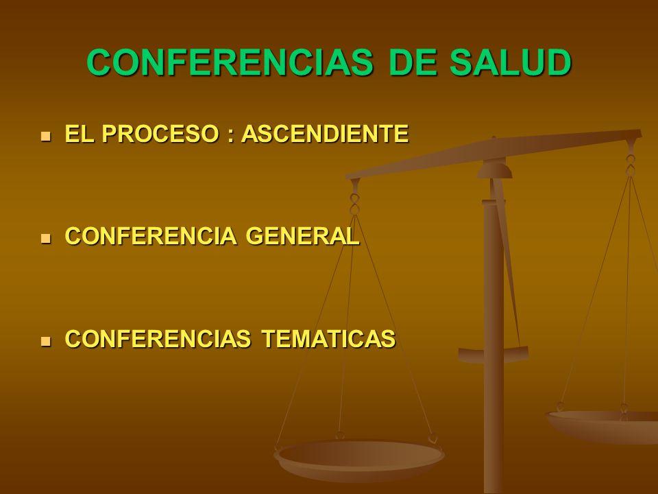 CONFERENCIAS DE SALUD EL PROCESO : ASCENDIENTE EL PROCESO : ASCENDIENTE CONFERENCIA GENERAL CONFERENCIA GENERAL CONFERENCIAS TEMATICAS CONFERENCIAS TEMATICAS