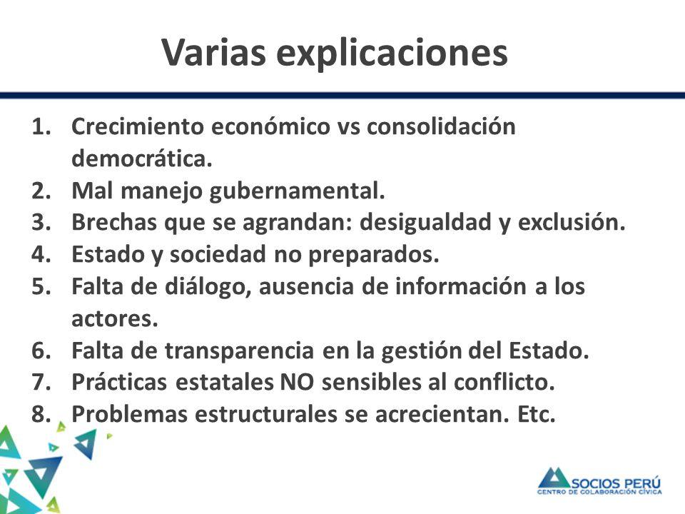 Varias explicaciones 1.Crecimiento económico vs consolidación democrática.