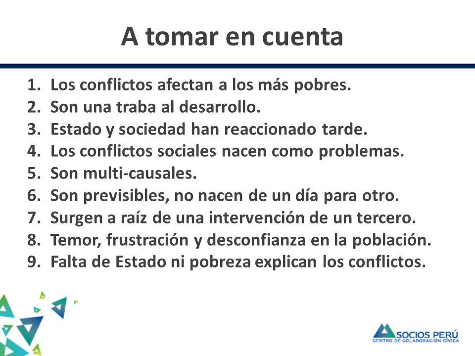 A tomar en cuenta 1.Los conflictos afectan a los más pobres.