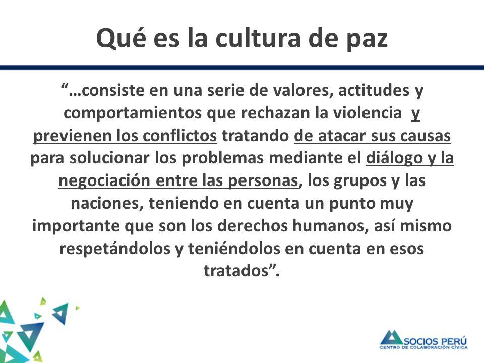 Desarrollo y cultura de paz El desarrollo como capacidad de transformar conflictos.