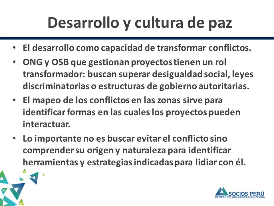 Desarrollo y cultura de paz (2) Mirar el conflicto de una manera constructiva.