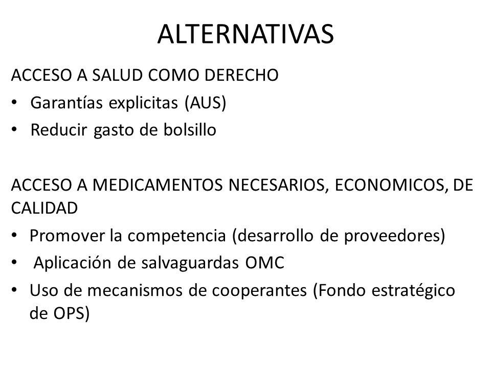 ACCESO A SALUD COMO DERECHO Garantías explicitas (AUS) Reducir gasto de bolsillo ACCESO A MEDICAMENTOS NECESARIOS, ECONOMICOS, DE CALIDAD Promover la