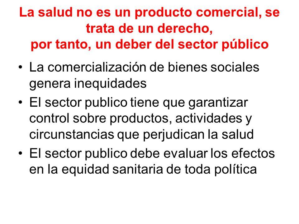 La salud no es un producto comercial, se trata de un derecho, por tanto, un deber del sector público La comercialización de bienes sociales genera ine