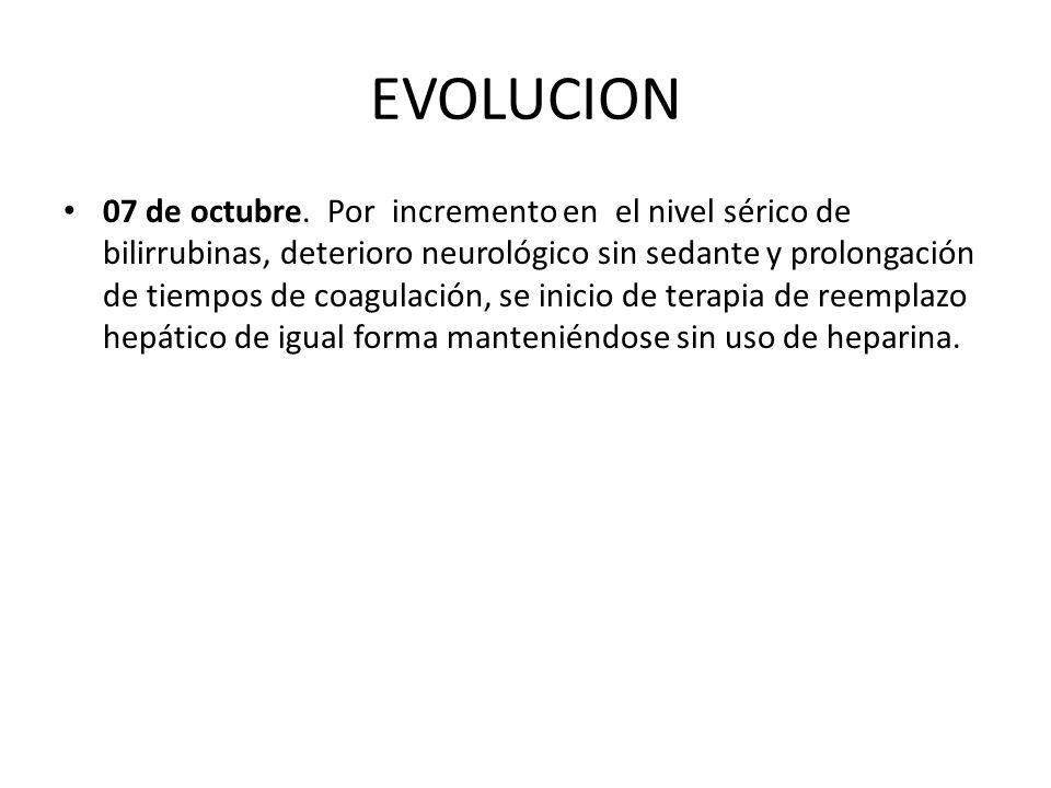 EVOLUCION 07 de octubre. Por incremento en el nivel sérico de bilirrubinas, deterioro neurológico sin sedante y prolongación de tiempos de coagulación