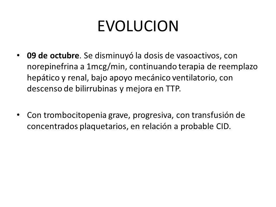 EVOLUCION 09 de octubre. Se disminuyó la dosis de vasoactivos, con norepinefrina a 1mcg/min, continuando terapia de reemplazo hepático y renal, bajo a