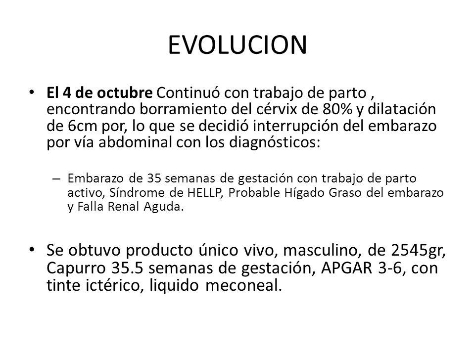 EVOLUCION El 4 de octubre Continuó con trabajo de parto, encontrando borramiento del cérvix de 80% y dilatación de 6cm por, lo que se decidió interrup