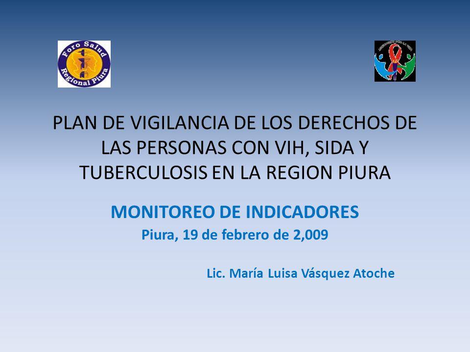 PLAN DE VIGILANCIA DE LOS DERECHOS DE LAS PERSONAS CON VIH, SIDA Y TUBERCULOSIS EN LA REGION PIURA MONITOREO DE INDICADORES Piura, 19 de febrero de 2,