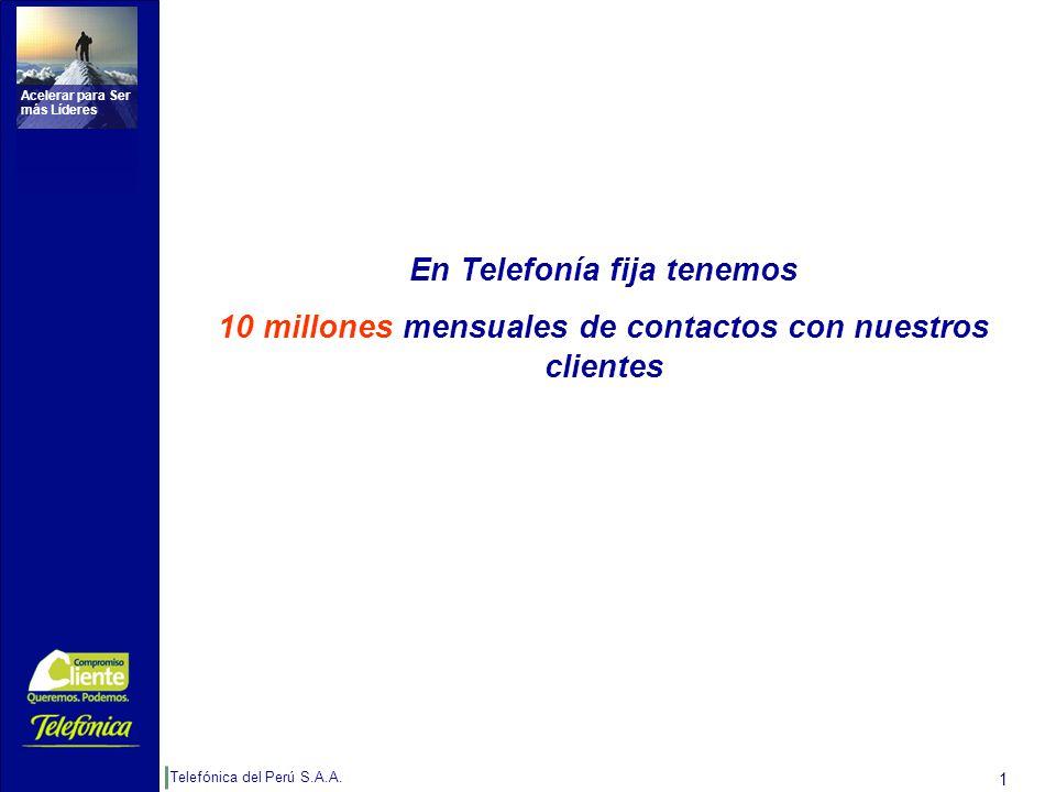 Telefónica del Perú S.A.A. Acelerar para Ser más Líderes 1 En Telefonía fija tenemos 10 millones mensuales de contactos con nuestros clientes