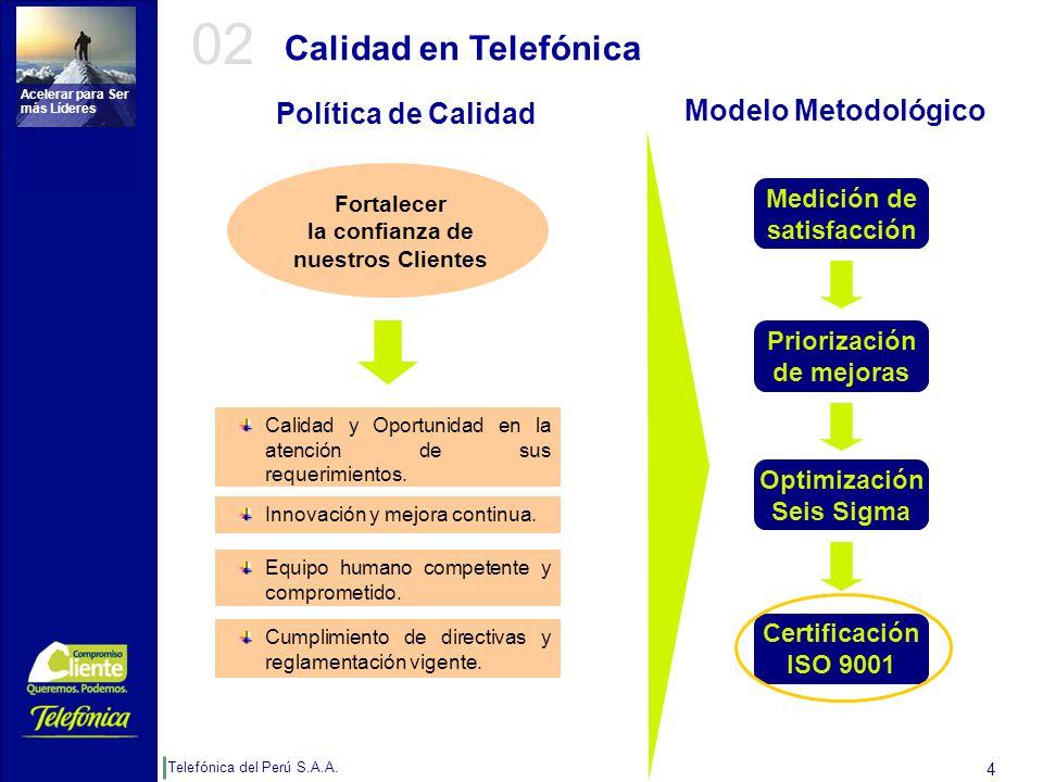 Telefónica del Perú S.A.A. Acelerar para Ser más Líderes 4 Calidad en Telefónica Calidad y Oportunidad en la atención de sus requerimientos. Innovació