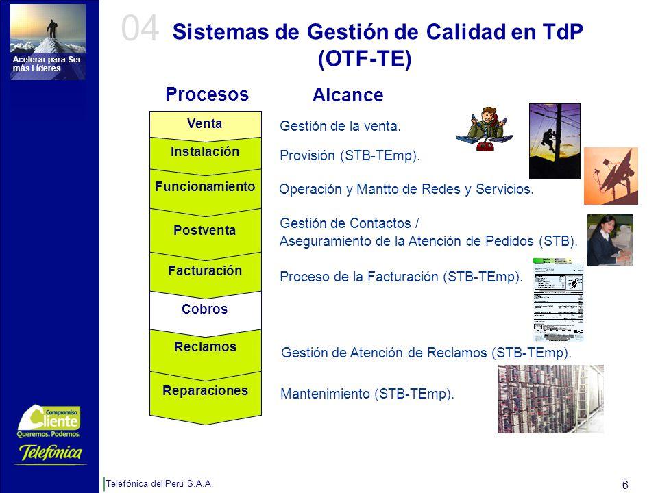 Telefónica del Perú S.A.A. Acelerar para Ser más Líderes 6 Sistemas de Gestión de Calidad en TdP (OTF-TE) Proceso de la Facturación (STB-TEmp). Gestió