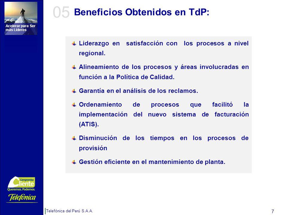 Telefónica del Perú S.A.A. Acelerar para Ser más Líderes 7 Beneficios Obtenidos en TdP: Liderazgo en satisfacción con los procesos a nivel regional. A