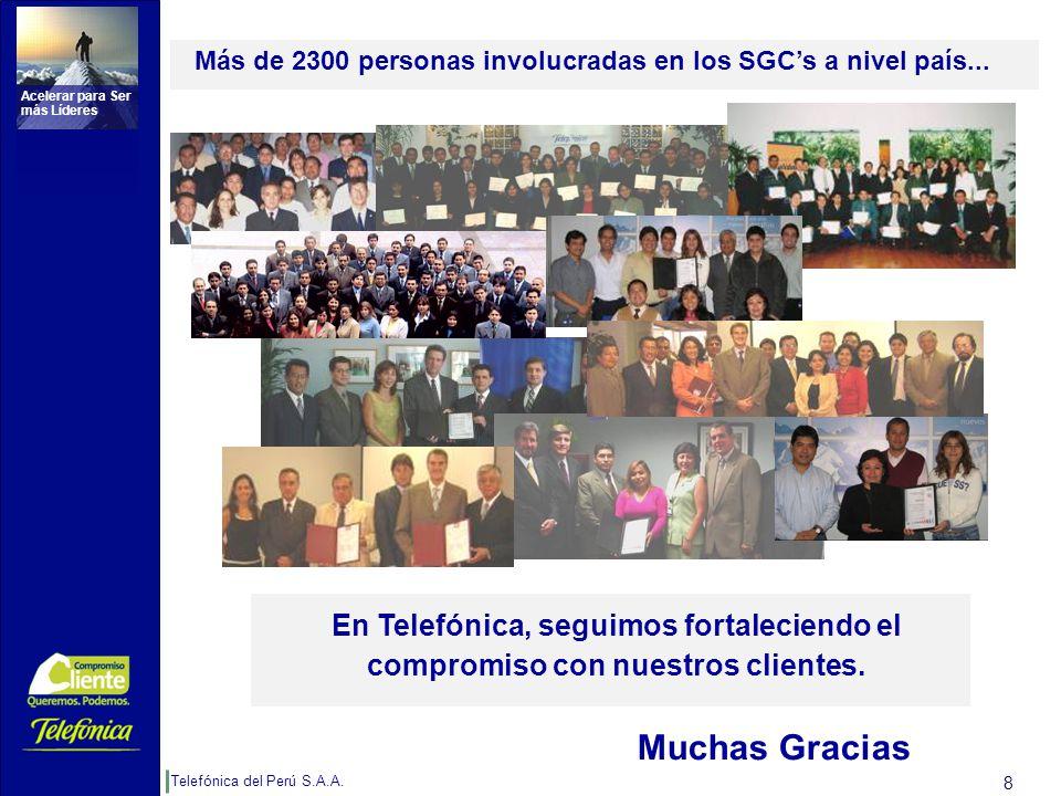 Telefónica del Perú S.A.A. Acelerar para Ser más Líderes 8 En Telefónica, seguimos fortaleciendo el compromiso con nuestros clientes. Más de 2300 pers