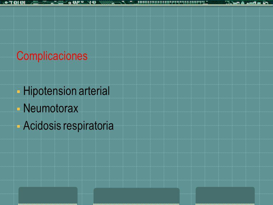 Complicaciones Hipotension arterial Neumotorax Acidosis respiratoria Complicaciones Hipotension arterial Neumotorax Acidosis respiratoria