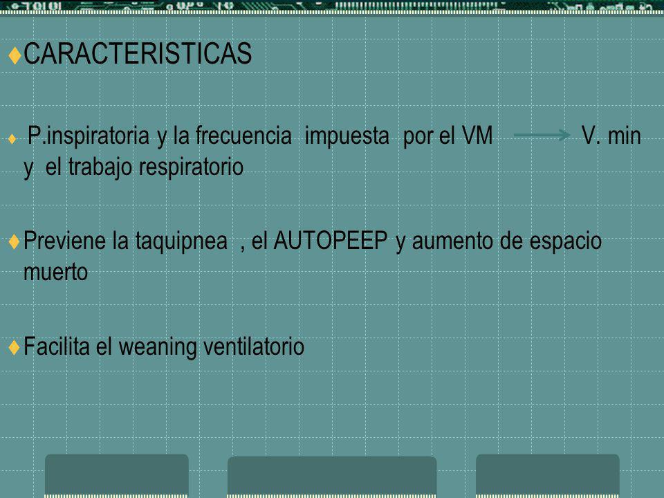 CARACTERISTICAS P.inspiratoria y la frecuencia impuesta por el VM V. min y el trabajo respiratorio Previene la taquipnea, el AUTOPEEP y aumento de esp