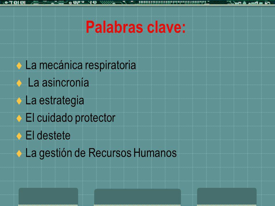 Palabras clave: La mecánica respiratoria La asincronía La estrategia El cuidado protector El destete La gestión de Recursos Humanos