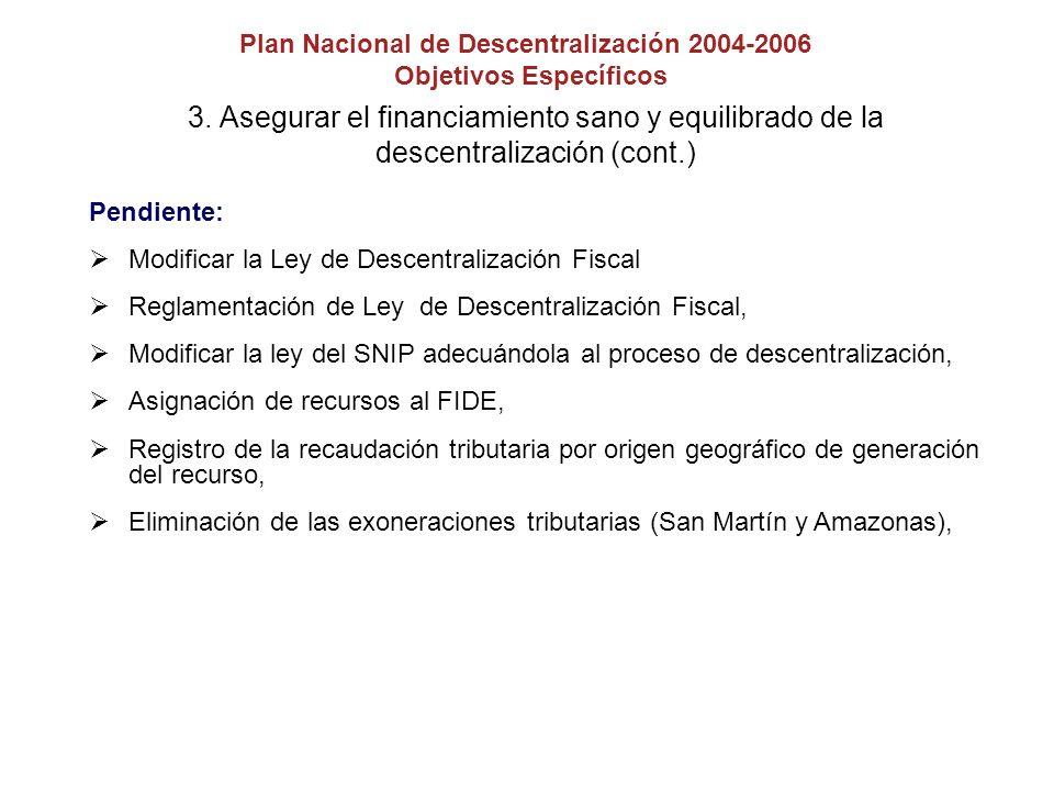 3. Asegurar el financiamiento sano y equilibrado de la descentralización (cont.) Pendiente: Modificar la Ley de Descentralización Fiscal Reglamentació