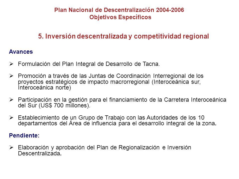 5. Inversión descentralizada y competitividad regional Avances Formulación del Plan Integral de Desarrollo de Tacna. Promoción a través de las Juntas