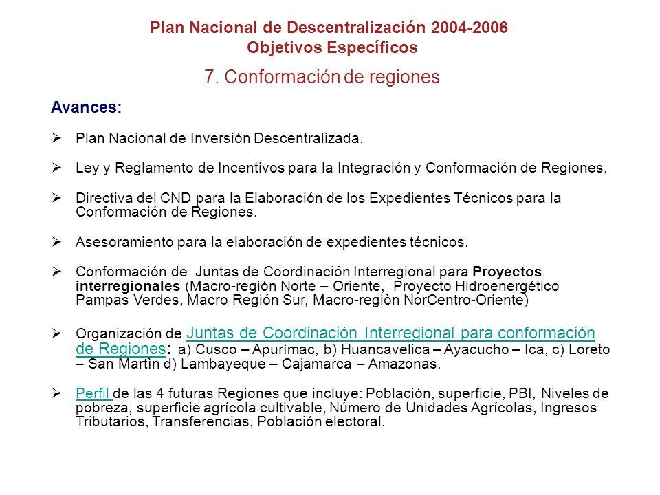 7.Conformación de regiones Avances: Plan Nacional de Inversión Descentralizada.