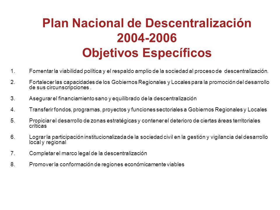 Plan Nacional de Descentralización 2004-2006 Objetivos Específicos 1.Fomentar la viabilidad política y el respaldo amplio de la sociedad al proceso de descentralización.