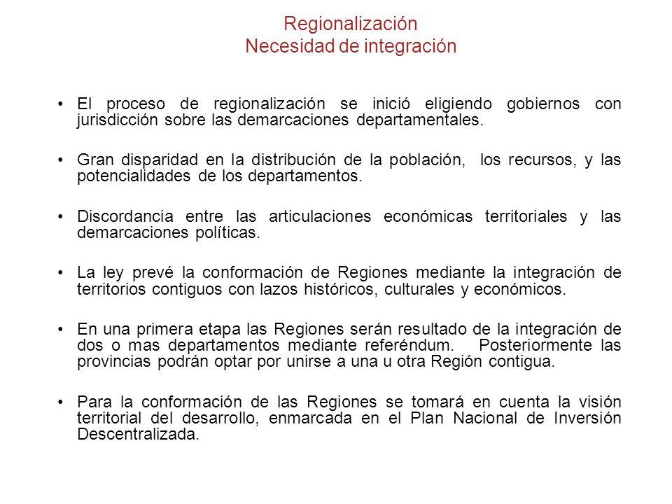 Regionalización Necesidad de integración El proceso de regionalización se inició eligiendo gobiernos con jurisdicción sobre las demarcaciones departamentales.