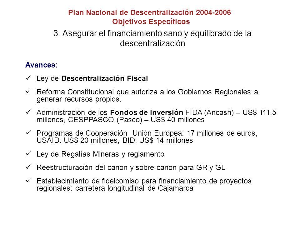 3. Asegurar el financiamiento sano y equilibrado de la descentralización Avances: Ley de Descentralización Fiscal Reforma Constitucional que autoriza