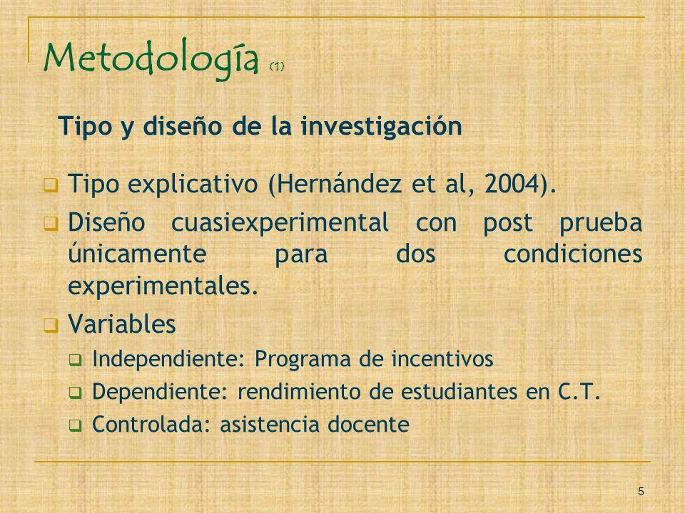 5 Metodología (1) Tipo y diseño de la investigación Tipo explicativo (Hernández et al, 2004). Diseño cuasiexperimental con post prueba únicamente para
