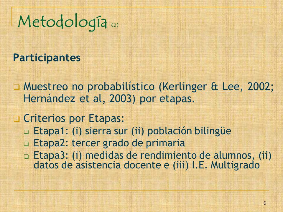 6 Metodología (2) Participantes Muestreo no probabilístico (Kerlinger & Lee, 2002; Hernández et al, 2003) por etapas. Criterios por Etapas: Etapa1: (i