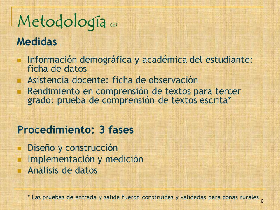 8 Metodología (4) Medidas Información demográfica y académica del estudiante: ficha de datos Asistencia docente: ficha de observación Rendimiento en c