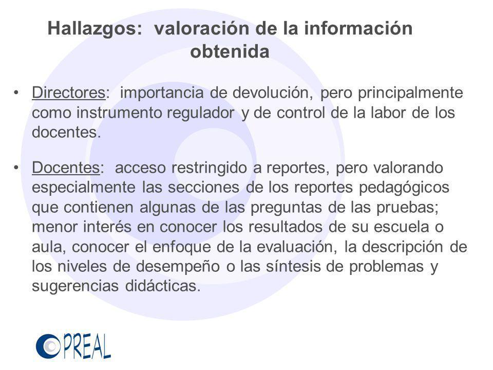 Hallazgos: valoración de la información obtenida Directores: importancia de devolución, pero principalmente como instrumento regulador y de control de