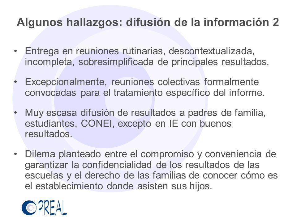 Algunos hallazgos: difusión de la información 2 Entrega en reuniones rutinarias, descontextualizada, incompleta, sobresimplificada de principales resu