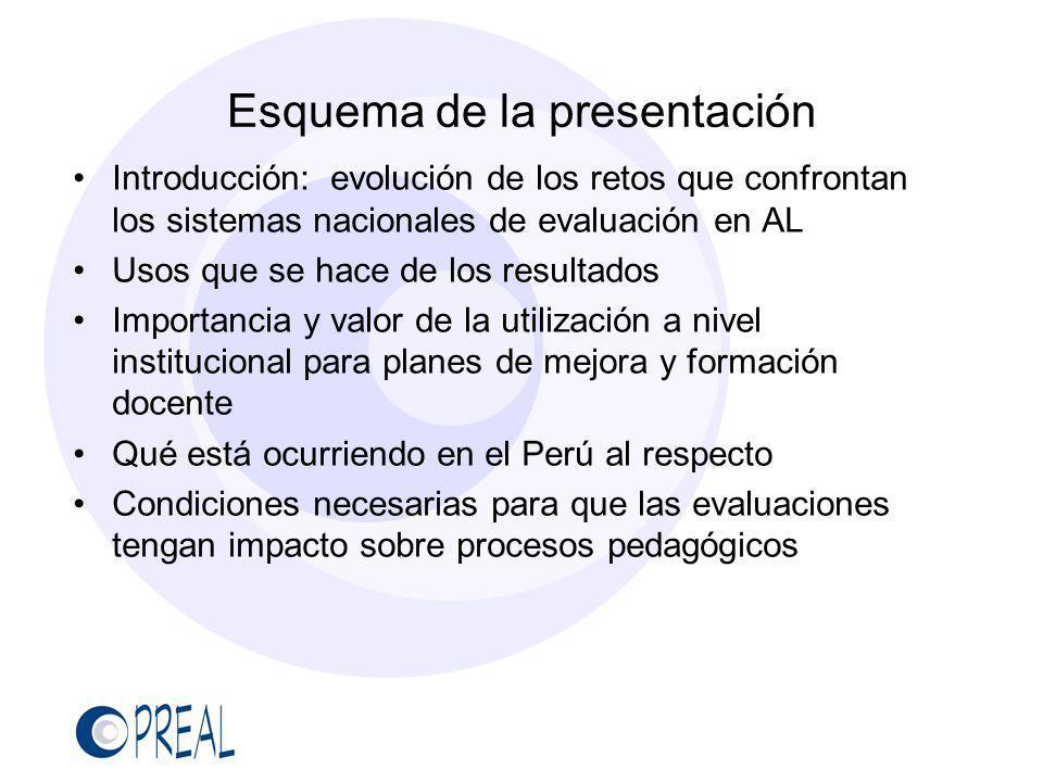 Esquema de la presentación Introducción: evolución de los retos que confrontan los sistemas nacionales de evaluación en AL Usos que se hace de los res