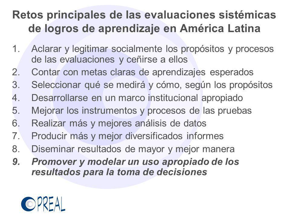 Retos principales de las evaluaciones sistémicas de logros de aprendizaje en América Latina 1.Aclarar y legitimar socialmente los propósitos y proceso