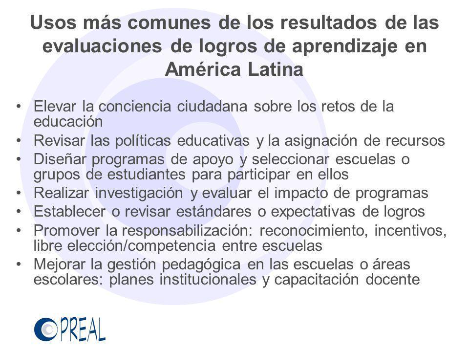 Usos más comunes de los resultados de las evaluaciones de logros de aprendizaje en América Latina Elevar la conciencia ciudadana sobre los retos de la