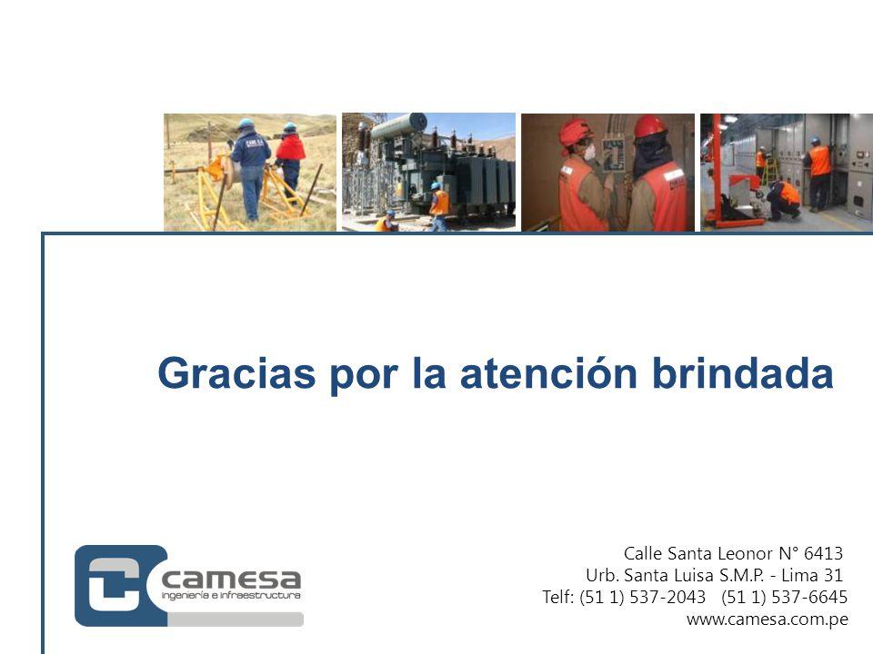 Calle Santa Leonor N° 6413 Urb. Santa Luisa S.M.P. - Lima 31 Telf: (51 1) 537-2043 (51 1) 537-6645 www.camesa.com.pe Gracias por la atención brindada