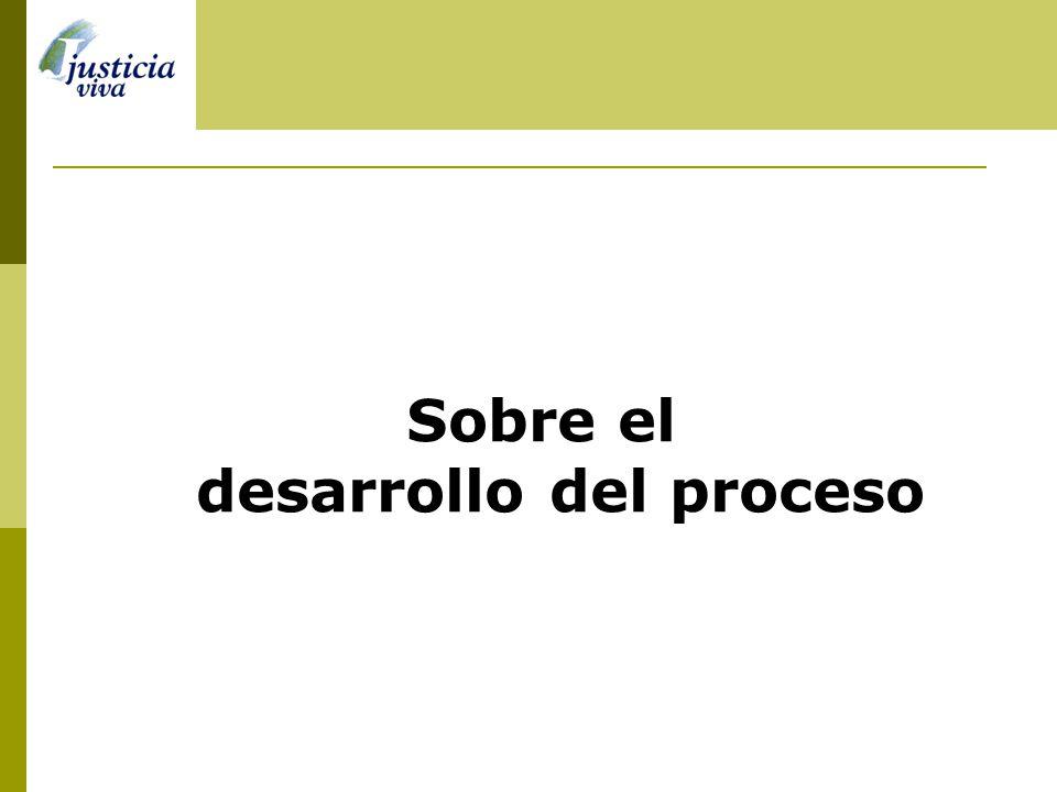 Sobre el desarrollo del proceso