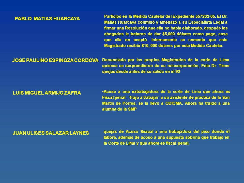 Manuel Lora Almeida Total de Quejas en Ocma 13 Expedientes Archivados: 12 Expedientes en tr á mite:7 Total de Sanciones: 2 (Apercibimientos) Total de Expedientes en Ocma: 19 (00068-2001/RH; 00086-2001/RH; 00193-2002/QO; 00134-2002/VO; 00212-2002/VO; 00249- 2002/VO; 01044-2003/QD; 01045-2003/QD; 00038-2003/QD; 00329-2004/QD; 00332-2004/QD; 00634-2004/QD; 00689-2004/QD; 00914-2004/QD; 00366-2004/QO; 00480-2004/QO; 00164- 2004/VO; 00161-2005/QD; 00289-2005/QO) (0000038-2004.