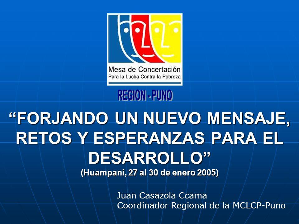 FORJANDO UN NUEVO MENSAJE, RETOS Y ESPERANZAS PARA EL DESARROLLO (Huampani, 27 al 30 de enero 2005) Juan Casazola Ccama Coordinador Regional de la MCLCP-Puno