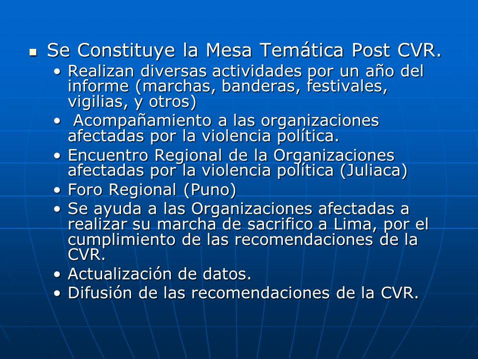 Se Constituye la Mesa Temática Post CVR. Se Constituye la Mesa Temática Post CVR. Realizan diversas actividades por un año del informe (marchas, bande