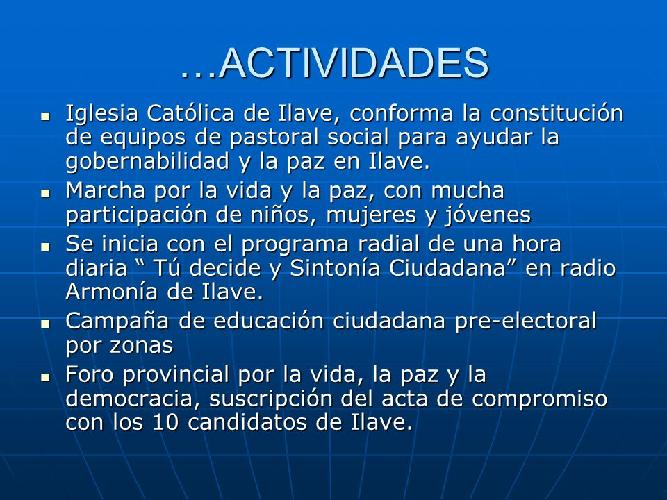 …ACTIVIDADES Iglesia Católica de Ilave, conforma la constitución de equipos de pastoral social para ayudar la gobernabilidad y la paz en Ilave. Iglesi