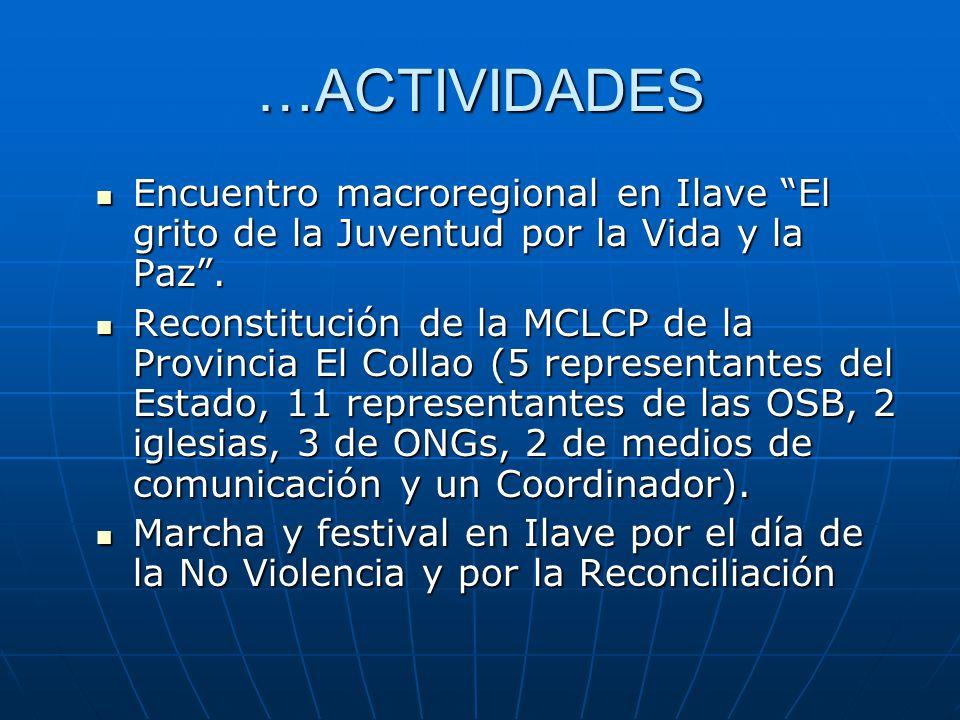 …ACTIVIDADES Encuentro macroregional en Ilave El grito de la Juventud por la Vida y la Paz.
