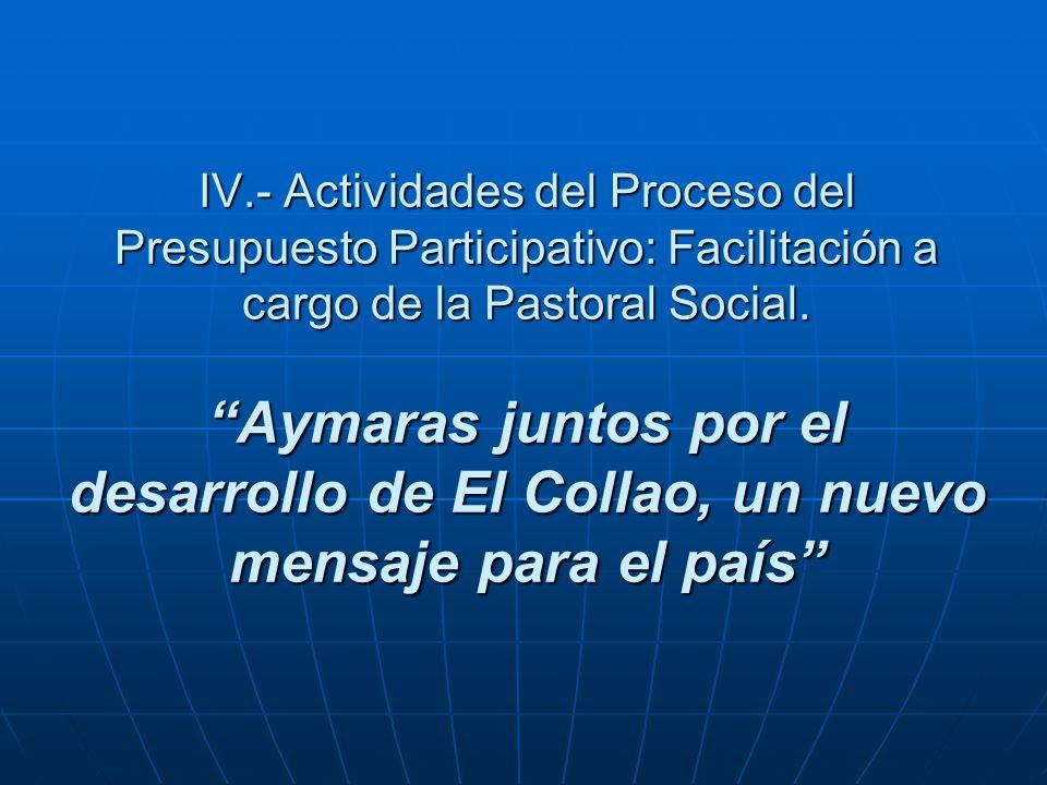 IV.- Actividades del Proceso del Presupuesto Participativo: Facilitación a cargo de la Pastoral Social. Aymaras juntos por el desarrollo de El Collao,