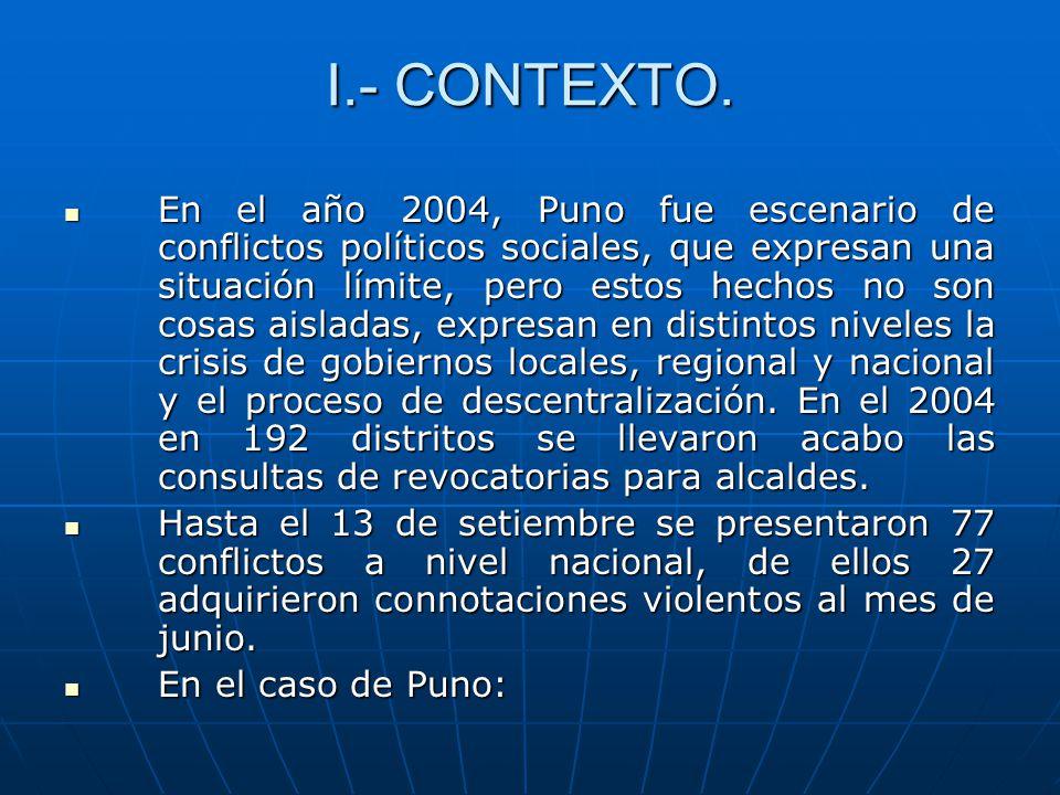 I.- CONTEXTO. En el año 2004, Puno fue escenario de conflictos políticos sociales, que expresan una situación límite, pero estos hechos no son cosas a
