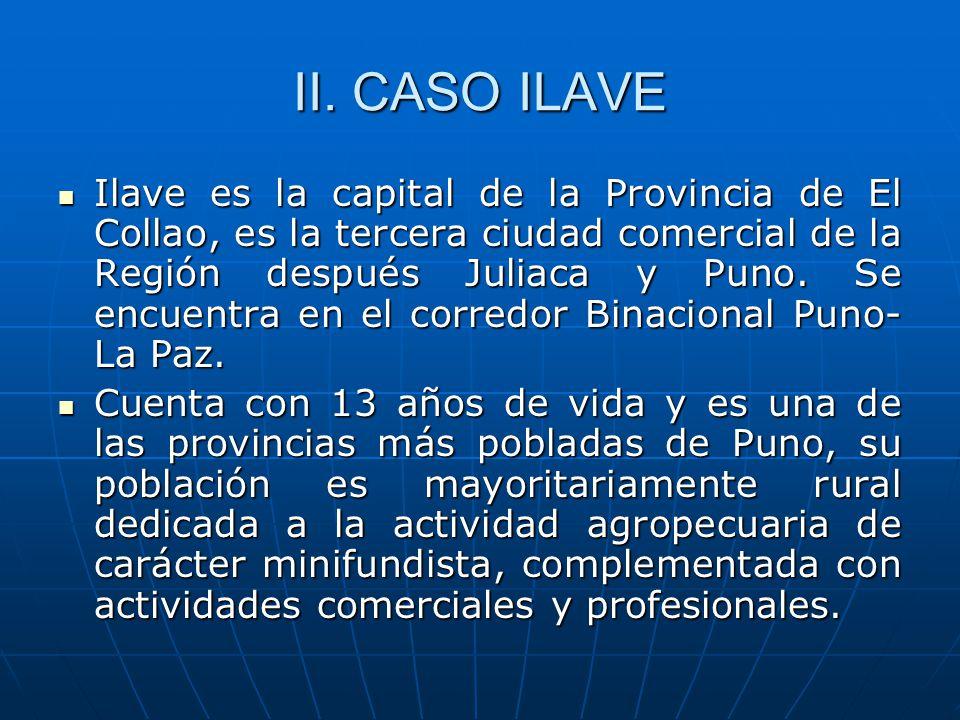 II. CASO ILAVE Ilave es la capital de la Provincia de El Collao, es la tercera ciudad comercial de la Región después Juliaca y Puno. Se encuentra en e