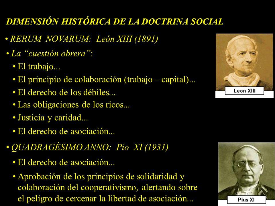 RERUM NOVARUM: León XIII (1891) La cuestión obrera: El trabajo... El principio de colaboración (trabajo – capital)... El derecho de los débiles... Las