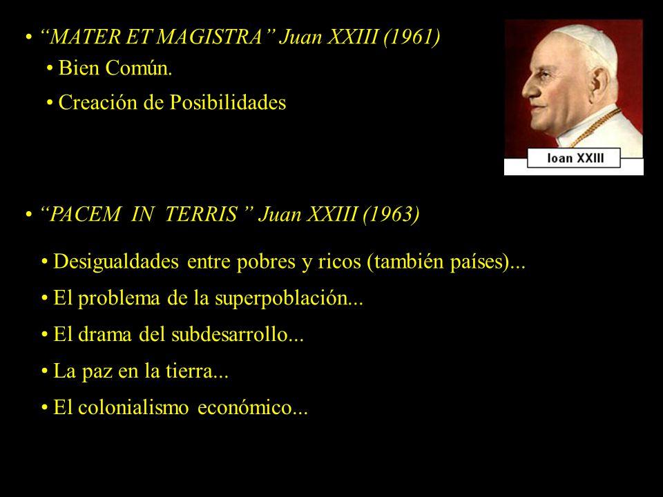 MATER ET MAGISTRA Juan XXIII (1961) Desigualdades entre pobres y ricos (también países)...