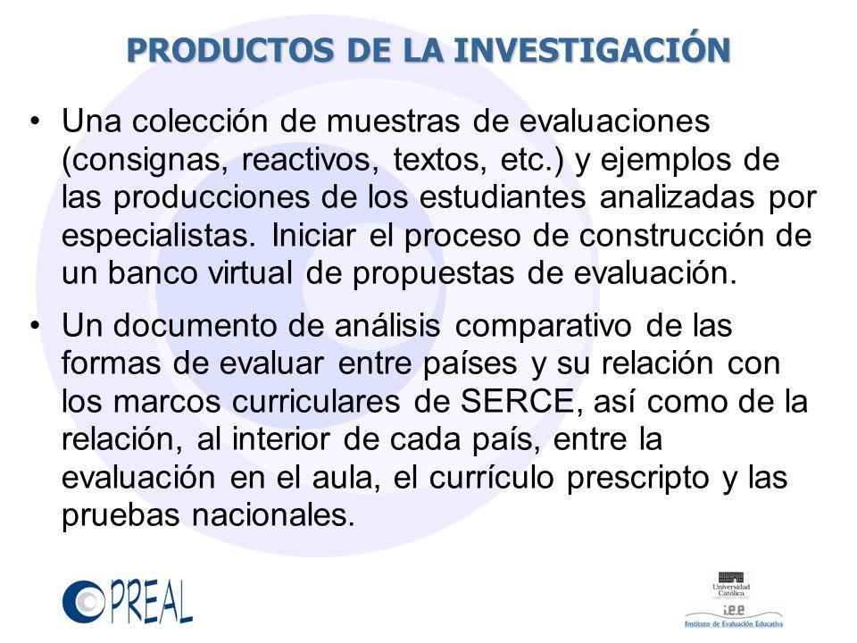 PRODUCTOS DE LA INVESTIGACIÓN Una colección de muestras de evaluaciones (consignas, reactivos, textos, etc.) y ejemplos de las producciones de los estudiantes analizadas por especialistas.
