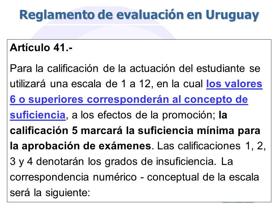 Artículo 41.- Para la calificación de la actuación del estudiante se utilizará una escala de 1 a 12, en la cual los valores 6 o superiores corresponderán al concepto de suficiencia, a los efectos de la promoción; la calificación 5 marcará la suficiencia mínima para la aprobación de exámenes.