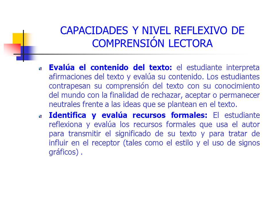 CAPACIDADES Y NIVEL REFLEXIVO DE COMPRENSIÓN LECTORA Evalúa el contenido del texto: el estudiante interpreta afirmaciones del texto y evalúa su contenido.